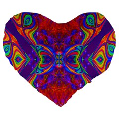 Butterfly Abstract Large 19  Premium Flano Heart Shape Cushion by icarusismartdesigns