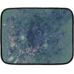 Vintage Floral In Blue Colors Double Sided Fleece Blanket (mini)  by FantasyWorld7
