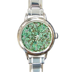 Beautiful Floral Pattern In Green Round Italian Charm Watches by FantasyWorld7