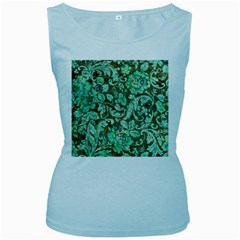 Beautiful Floral Pattern In Green Women s Baby Blue Tank Tops by FantasyWorld7