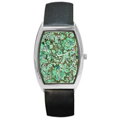 Beautiful Floral Pattern In Green Barrel Metal Watches by FantasyWorld7