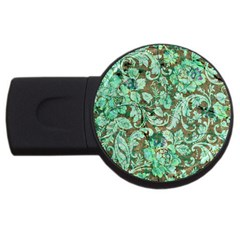 Beautiful Floral Pattern In Green Usb Flash Drive Round (4 Gb)  by FantasyWorld7