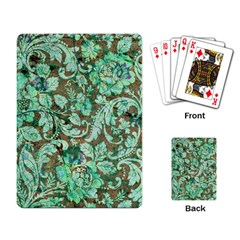 Beautiful Floral Pattern In Green Playing Card by FantasyWorld7
