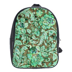 Beautiful Floral Pattern In Green School Bags(large)  by FantasyWorld7