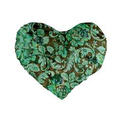 Beautiful Floral Pattern In Green Standard 16  Premium Heart Shape Cushions by FantasyWorld7
