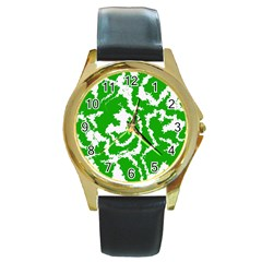 Migraine Green Round Gold Metal Watches