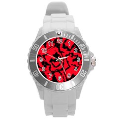 Migraine Red Round Plastic Sport Watch (l) by MoreColorsinLife