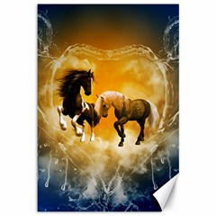 Wonderful Horses Canvas 12  X 18   by FantasyWorld7