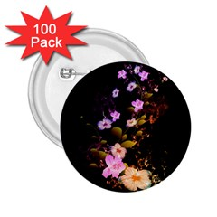 Awesome Flowers With Fire And Flame 2 25  Buttons (100 Pack)  by FantasyWorld7