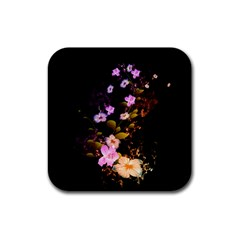 Awesome Flowers With Fire And Flame Rubber Square Coaster (4 Pack)  by FantasyWorld7