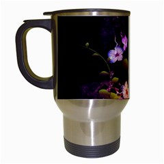 Awesome Flowers With Fire And Flame Travel Mugs (white) by FantasyWorld7