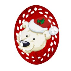 Funny Polar Bear Ornament (oval Filigree)  by FantasyWorld7