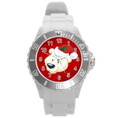 Funny Polar Bear Round Plastic Sport Watch (l) by FantasyWorld7