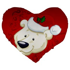 Funny Polar Bear Large 19  Premium Flano Heart Shape Cushions by FantasyWorld7