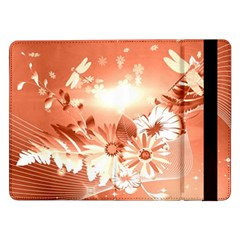 Amazing Flowers With Dragonflies Samsung Galaxy Tab Pro 12 2  Flip Case by FantasyWorld7