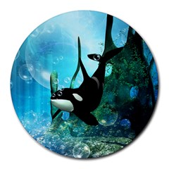 Orca Swimming In A Fantasy World Round Mousepads by FantasyWorld7