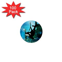Orca Swimming In A Fantasy World 1  Mini Buttons (100 Pack)  by FantasyWorld7