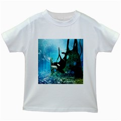 Orca Swimming In A Fantasy World Kids White T Shirts by FantasyWorld7