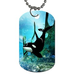 Orca Swimming In A Fantasy World Dog Tag (two Sides) by FantasyWorld7