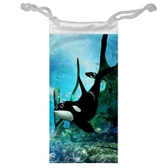 Orca Swimming In A Fantasy World Jewelry Bags by FantasyWorld7