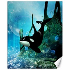 Orca Swimming In A Fantasy World Canvas 16  X 20   by FantasyWorld7