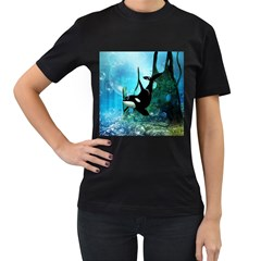 Orca Swimming In A Fantasy World Women s T Shirt (black) by FantasyWorld7