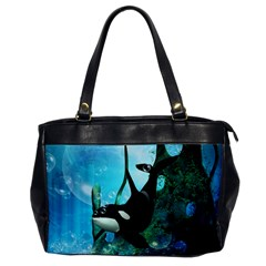 Orca Swimming In A Fantasy World Office Handbags by FantasyWorld7
