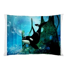 Orca Swimming In A Fantasy World Pillow Cases (two Sides) by FantasyWorld7
