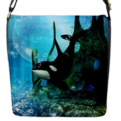 Orca Swimming In A Fantasy World Flap Messenger Bag (s) by FantasyWorld7