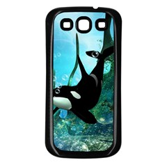 Orca Swimming In A Fantasy World Samsung Galaxy S3 Back Case (black) by FantasyWorld7