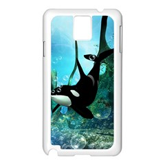 Orca Swimming In A Fantasy World Samsung Galaxy Note 3 N9005 Case (white) by FantasyWorld7