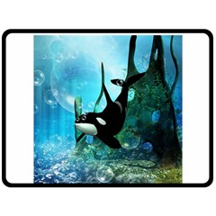 Orca Swimming In A Fantasy World Double Sided Fleece Blanket (large)  by FantasyWorld7