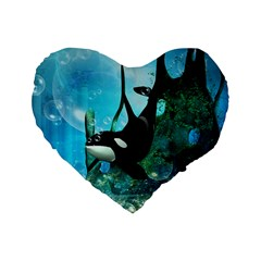 Orca Swimming In A Fantasy World Standard 16  Premium Flano Heart Shape Cushions by FantasyWorld7