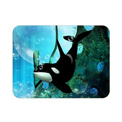 Orca Swimming In A Fantasy World Double Sided Flano Blanket (mini)  by FantasyWorld7