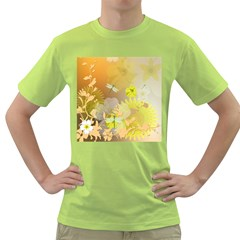 Beautiful Yellow Flowers With Dragonflies Green T Shirt by FantasyWorld7