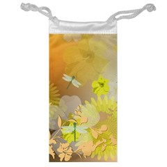 Beautiful Yellow Flowers With Dragonflies Jewelry Bags by FantasyWorld7