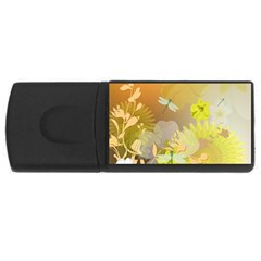 Beautiful Yellow Flowers With Dragonflies Usb Flash Drive Rectangular (4 Gb)  by FantasyWorld7