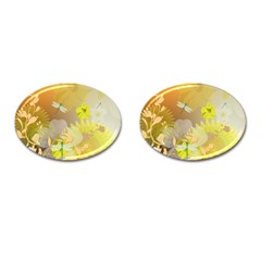 Beautiful Yellow Flowers With Dragonflies Cufflinks (oval) by FantasyWorld7