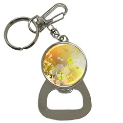 Beautiful Yellow Flowers With Dragonflies Bottle Opener Key Chains by FantasyWorld7
