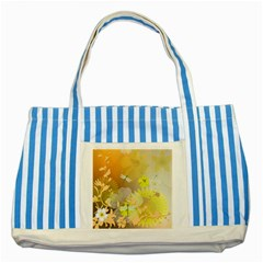 Beautiful Yellow Flowers With Dragonflies Striped Blue Tote Bag  by FantasyWorld7