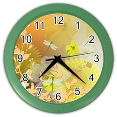Beautiful Yellow Flowers With Dragonflies Color Wall Clocks by FantasyWorld7