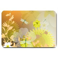 Beautiful Yellow Flowers With Dragonflies Large Doormat  by FantasyWorld7
