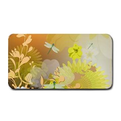 Beautiful Yellow Flowers With Dragonflies Medium Bar Mats by FantasyWorld7