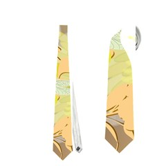 Beautiful Yellow Flowers With Dragonflies Neckties (one Side)