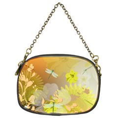 Beautiful Yellow Flowers With Dragonflies Chain Purses (one Side)  by FantasyWorld7