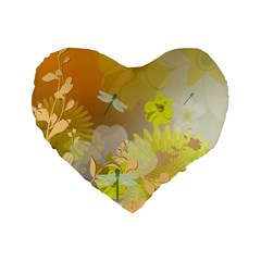 Beautiful Yellow Flowers With Dragonflies Standard 16  Premium Heart Shape Cushions by FantasyWorld7