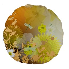 Beautiful Yellow Flowers With Dragonflies Large 18  Premium Flano Round Cushions by FantasyWorld7