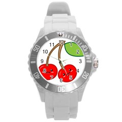 Kawaii Cherry Round Plastic Sport Watch (l)