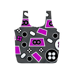 Grey Pink Abstract  Full Print Recycle Bags (s)  by OCDesignss