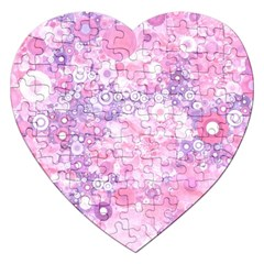 Lovely Allover Ring Shapes Flowers Pink Jigsaw Puzzle (heart) by MoreColorsinLife